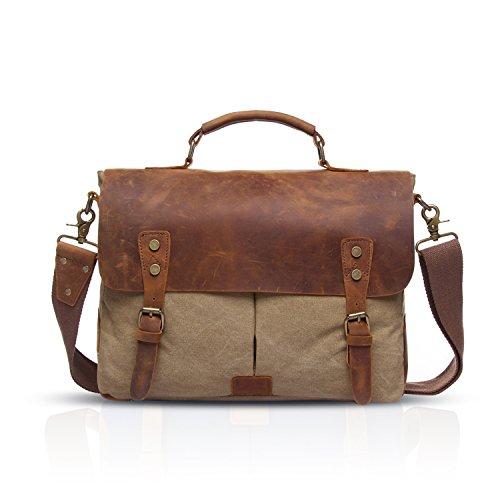 FANDARE Mensajero Messenger Bag Crossbody Bolso Bandolera 14.6 Pollice Shoulder Bag Portátil Estudiante Viaje Trabajo Escuela Bolso Lona Caqui