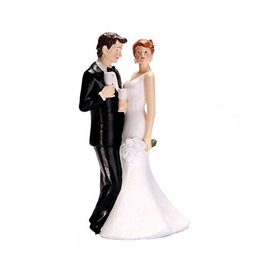 Bac - Figurine couple mariés bouquet 16cm