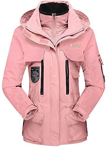 Hcxbb-10 Softshelljas voor dames, 3-in-1, waterdicht, ademend jas, bergbeklimmen kleding medium lange jas, geschikt voor bergwandelen, kamperen, snowboarden, tweedelig