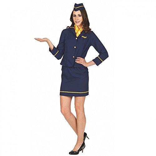 Andrea Moden GmbH Kostüm Stewardess Tina mit Rock, Tuch und Hut Flugbegleiterin Fasching Karneval, Gr. 32/34