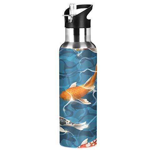 Lihuaval Tropical Koi Fish Botella de agua de acero inoxidable aislada al vacío, botella de doble pared con pajita, para deportes al aire libre, fitness, gimnasio, 600 ml