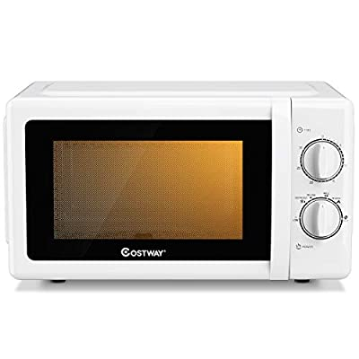 COSTWAY Retro Countertop Microwave Oven, 0.7 Cu. Ft, 700W Mechanical Compact Microwave Oven 6 Micro Power Settings, Glass Turntable and Viewing Window, ETL Certification (White)