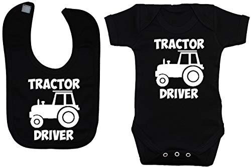 Acce Products Traktor Driver Baby-Strampler und Lätzchen für Babys von 0 bis 12 Monaten Gr. 3-6 Monate, Schwarz