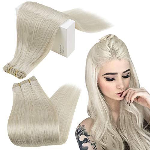 RUNATURE Sew in Hair Extensions Human Hair 14 Inch Color 800 White Blonde Human Hair 100g Hair Bundles Double Weft Hair Extensions