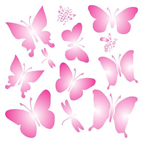 Schmetterlinge Schablone–wiederverwendbar Libellen Schmetterlinge Bienen Wand Schablone–Vorlage, auf Papier Projekte Scrapbook Tagebuch Wände Böden Stoff Möbel Glas Holz usw. Größe S