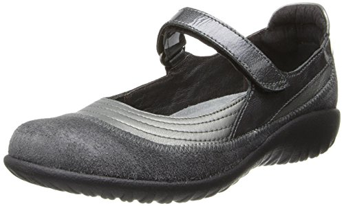 NAOT Men's Kirei-Koru Trans Maryjane Hook-and-Loop Flat Shoes, Sterling Leather/Gray Suede/Gray Patent Leather, 8.5-9