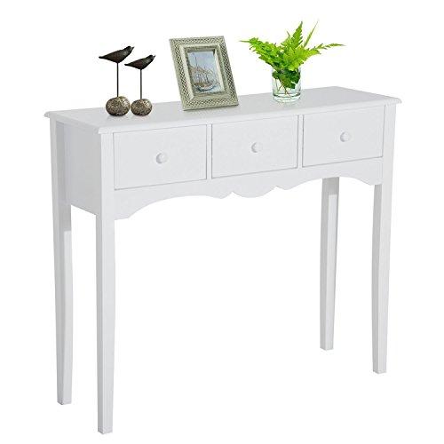 HOMCOM Mueble Mesa Recibidor Tipo Consola de Entrada y Mesa Auxiliar con 3 Cajones en Color Blanco y Material de Madera 100x32x85cm ✅