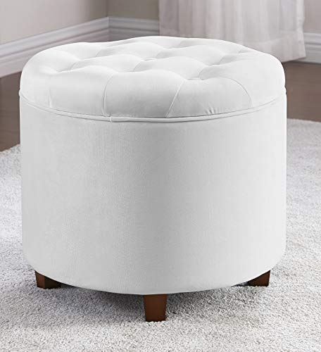 Ornavo Home Donovan Round Tufted Velvet Storage Ottoman Foot Rest Stool/Seat with Removable Lid - Silver