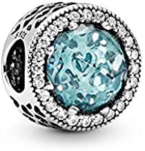 Pandora Jewelry Sparkling Glacier Blue Crystal and Cubic Zirconia Charm in Sterling Silver