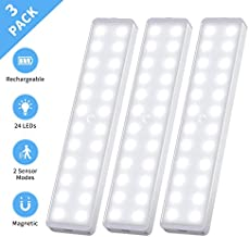 LED Closet Light, 24-LED New Motion Sensor Closet Lights Rechargeable Under Cabinet Light Wireless Stick-on Anywhere Night Light Bar for Cupboard, Hallway, Stairs, Kitchen, Bedroom (3 Pack)