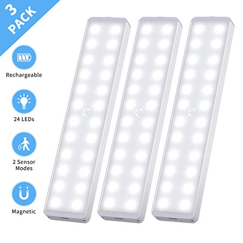 LED Closet Light, 24-LED Motion Activated Under Cabinet Lights Rechargeable Battery Operated Night Lighting Wireless Motion Sensor Light Stick Anywhere for Hallway Stairs Kitchen (3 Pack)