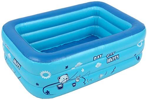 dDanke Faltbares aufblasbares Familienplanschbecken, rechteckig, aufblasbar, Schwimmbad, Badewanne für Kinder und Erwachsene, für Sommer-Partys, in zufälliger Farbe