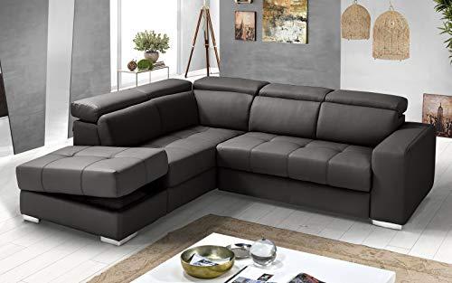 Dafne Italian Design - Sofá cama esquinero de 3 plazas con chaise longue a la izquierda, piel sintética (266 x 230 x 94 cm)