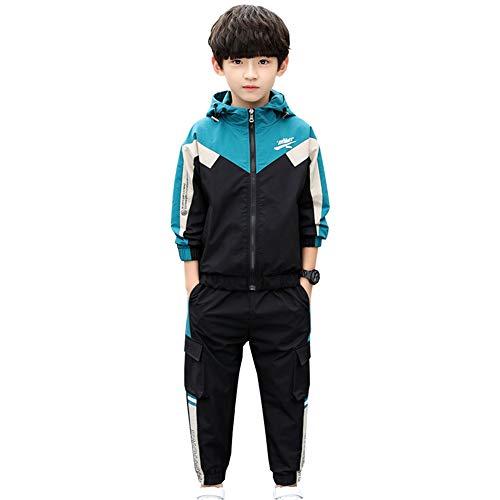 LSHDCER Kinder Jungen Jogginganzug Jogging Hose Jacke Sportanzug Sporthose Fitness Hoodie, Grün, 122/128
