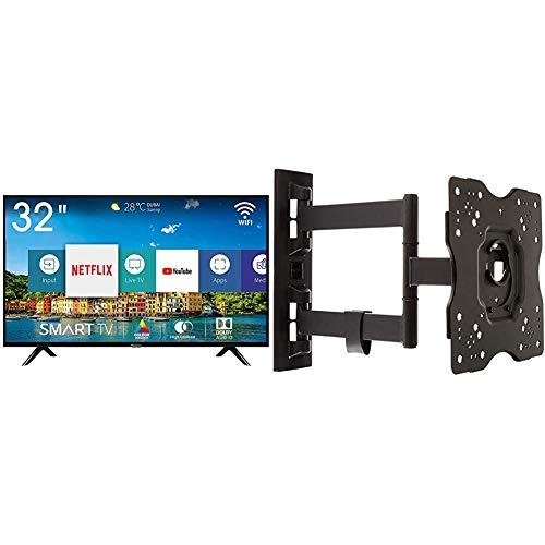 """Hisense H32BE5500 Smart TV LED HD 32"""", USB Media Player, Tuner DVB-T2/S2 HEVC Main10 [Esclusiva Amazon - 2019] & AmazonBasics - Staffa snodata da parete, per TV da 22"""" a 55"""""""