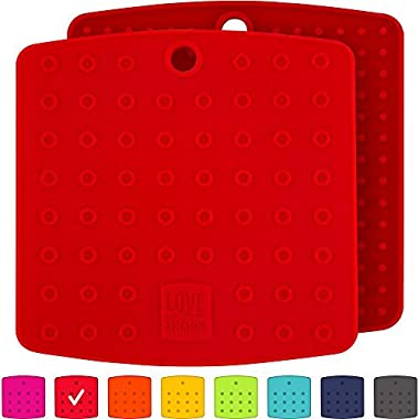 Premium Silicone Trivet Mats/Hot Pads, Pot Holders, Spoon Rest, Jar Opener & Coasters - Our 5 in 1 Kitchen Tool is Heat Resistant to 442 °F, Thick & Flexible (7  x 7 , Coral Red, 1 Pair)