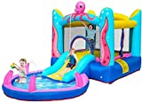 Casa infantil inflable Castillo inflable Casa de rebote con soplador salto de salto Piscina de salpicaduras, diapositiva de agua Bouncer interior / al aire libre Playhouse para niños Regalo de fiesta