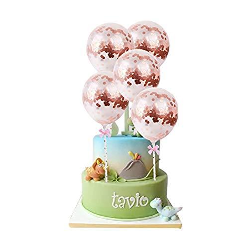 Rose Gold Konfetti Ballon Cake Topper Latexballons für Geburtstag Hochzeitstag Baby Shower Party Dekoration Pack von 5