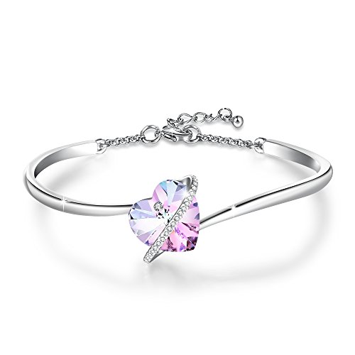 GEORGE · SMITH Women Ladies Silver Bracelet with Crystal from Austria,Heart Bracelet Bangle for Women- Jewelry Box Included