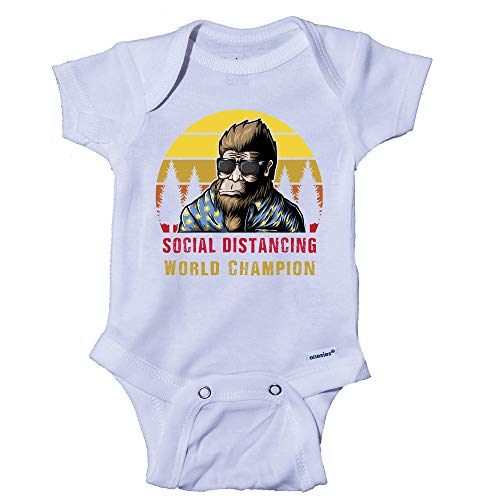 Snappy Suits Bigfoot Social Distancing Champion Funny Baby Onesie One-Piece Bodysuit Romper T-Shirt (12 Months) White