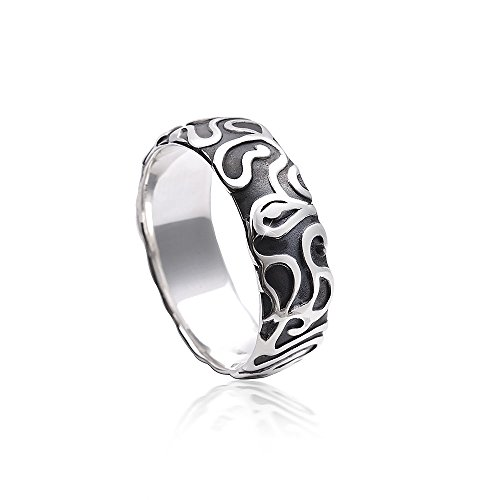 MATERIA Damen Herren Ring Labyrinth 925 Silber antik massiv mit Box/deutsche Fertigung #SR-129, Ringgrößen:57 (18.1 mm Ø)