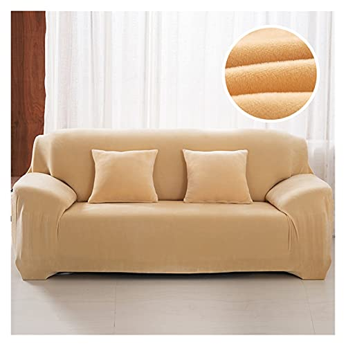MGGZ Plüsch FabIRC Sofa Cover 1/2/3/4 Sitzer Dicke Slipcover Couch Sofacover Stretch Elastic Günstige Sofaabdeckungen Handtuch Wrapping (Color : Cream, Specification : 3 Seat 185-230cm)