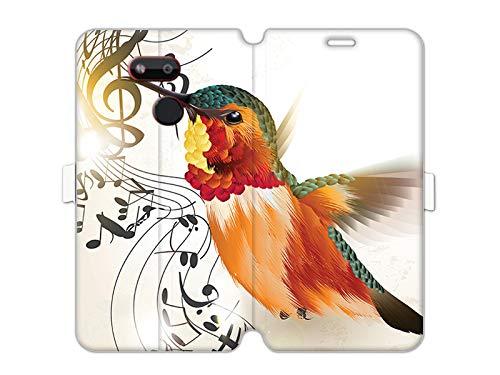 Hülle für HTC Desire 12s - Hülle Wallet Book Fantastic - Kolibri mit Noten Handyhülle Schutzhülle Etui Hülle Cover Tasche für Handy