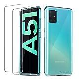 QHOHQ Funda Samsung Galaxy A51 4G (No 5G)+2 Pack Cristal Templado Protector de Pantalla Samsung Galaxy A51 4G, Ultra Fina Silicona Transparente TPU Cases Anti-Caíd
