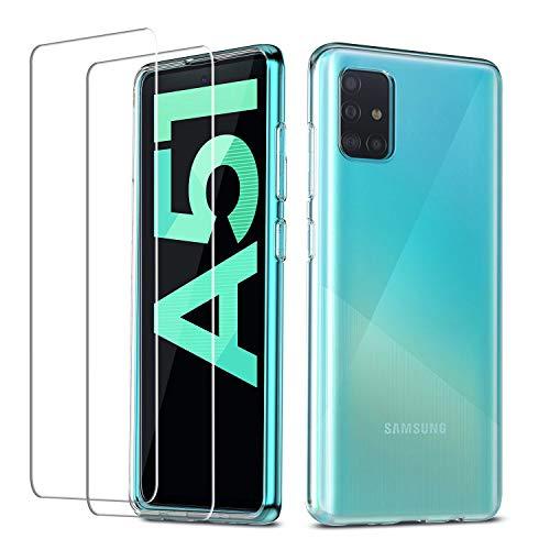 QHOHQ Hülle für Samsung Galaxy A51 4G (Nicht 5G) + 2 Stück Panzerglas Schutzfolie, Superdünnes Weiches Silikon-TPU Anti-Scratch Schutzhülle