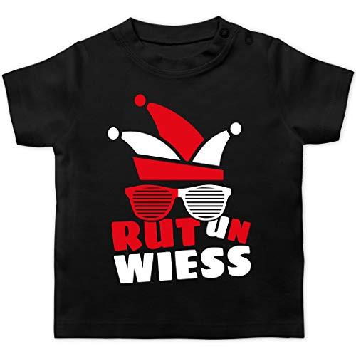 Karneval und Fasching Baby - Rut un wiess - 6/12 Monate - Schwarz - Verkleidung Kostüm - BZ02 - Baby T-Shirt Kurzarm