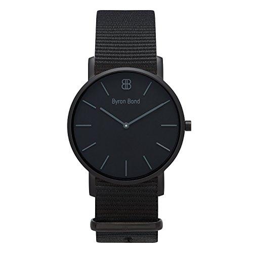 Verschiedene Armband - Modell: Hackney - Schwarzes Gehäuse mit schwarzem Zifferblatt und Natoband
