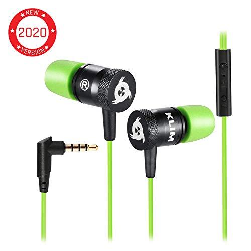 KLIM Fusion - Auriculares con micrófono para móvil + Garantía 5 años + Innovadora Espuma de Memoria + Jack 3,5 mm + Compatibles con Smartphone, Tablet, Consola, PC - Nueva Versión 2019 - Verde