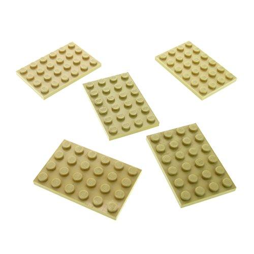 5 x Lego System Bau Platte beige tan 4 x 6 75080 7573 4512 7739 21002 8092 7938 3032