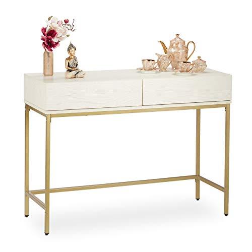 Relaxdays Konsolentisch, 2 Schubladen, Sideboard Flur, Wohnzimmer, Ablagetisch Holzoptik, HxBxT: 80x110x40 cm, weiß/gold