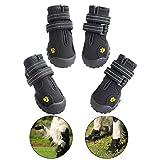 FLOWSIK ドッグブーツ 犬用靴 防水 犬用ブーツ 滑り止め 肉球守り アウトドア 愛犬の散歩 足を保護 中型、大型犬にもフィット ドッグシューズ 犬靴 (01, ブラック)