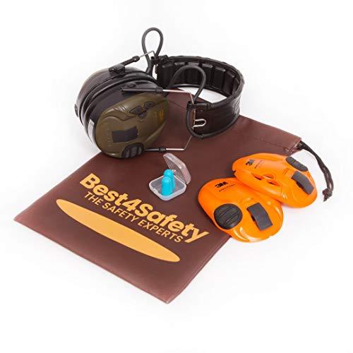 3M Peltor Sporttac Elektronischer Gehörschutz Set inklusive wasserresistenten Beutel | Fuer die Jagd & Schiesssport | Orange & Gruen | SNR 26db