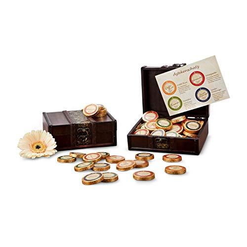 Römer Präsente Geschenkset: Aztekenschatz mit 32 Schokoladentalern als Golddublonen (ca. 256 g) in einer dekorativen Schatzkiste / Schatztruhe; 4 verschiedene Kakaogehälter von 38 % bis 71 %