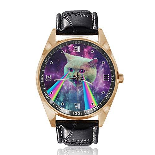 Chat Laser Galaxy Custom Personnalisé Hommes Femmes Montre Étanche Acier Inoxydable Quartz Montres Bracelet Bracelet en Cuir Remplaçable