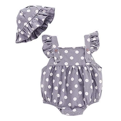 Xmiral Baby Mädchen ärmellose Punktdruck Strampler + Rüschen Hut Outfits Infant Newborn Bodysuit Einteilige Pyjamas(Grau,3-6 Monate)