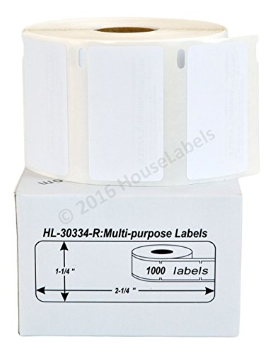 """1 Roll; 1,000 Labels per Roll of Compatible with DYMO 30334-R Removable Multipurpose Labels (2-1/4"""" x 1-1/4"""") - BPA Free!"""
