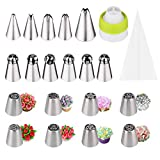 Russian Piping Nozzles 30pcs Icing Bags and Nozzles Set 304 Stainless Pastry Tip Piping Ball DIY Cake Decorating Set