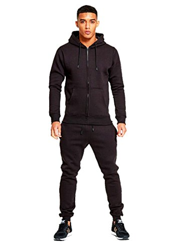 mymixtrendz Mens Designer Tracksuit Skinny Fit Stretch Body Fit Zipped Top and Joggers Bottoms L Black