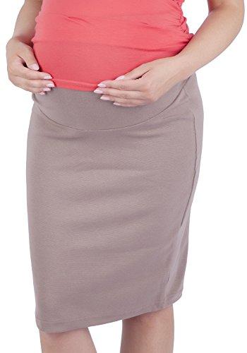 Mija - Schwangerschaftsrock aus Strickstoff mit extra Bauch-Panel 3045 (44/46, Cappuccino)