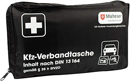 Kfz-Verbandtasche Auto Verbandkasten mit Malteser Anwendungsbroschüre DIN 13164 (Schwarz)