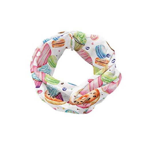 ABAKUHAUS Diadame Postre, Banda Elástica y Suave para Mujer para Deportes y Uso Diario Candy Shop Inspirado crema batida remató las magdalenas del remolino Lollipops Macarons Donuts, Multicolor