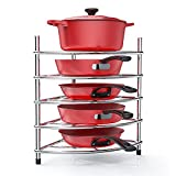 Pots and Pans Organizer Rack for Cabinet 5 Tiers Large and Heavy Duty for Dutch Oven, Glass Pots, Caphalon Cookware Set, cast Iron Skillets