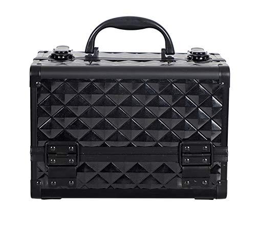 Hoge Kwaliteit Aluminium legering frame Make-up Organizer Vrouwen Cosmetische Case/Tas Met Spiegel Reizen Grote Capaciteit Koffers Zwart
