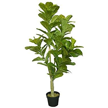 4'6  Real Touch Fiddle Leaf Fig Silk Tree w/Pot -90 Leaves -Green