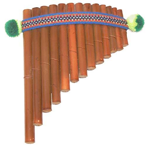 Flauto di Pan artigianale dell'America Latina in bambù di colore marrone, dimensioni 17,5 x 13 cm