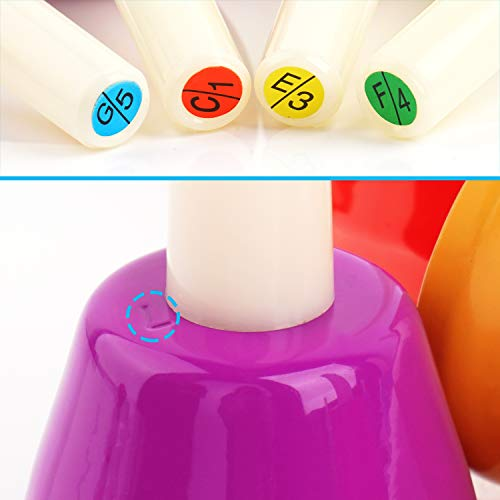 Handbells, Hand Bells Set 8 Note Musical Bells with Colorful Songbook for Toddlers Children Kids Adults School Church Classroom Wedding, by Vangoa